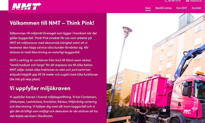 NMT Think Pinks hemsida